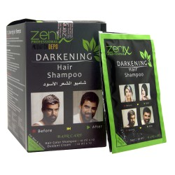 Zenix Siyah Şampuan  Erkekler İçin Beyaz Kırıcı Siyah Şampuan 10X10ml  Saç ve Sakal